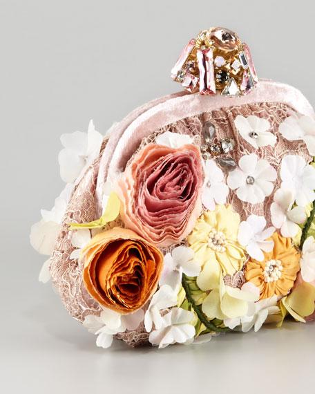 Miss Dea Lace & Floral Pouchette Clutch Bag
