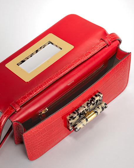 Natalia Alligator East-West Clutch Bag, Red
