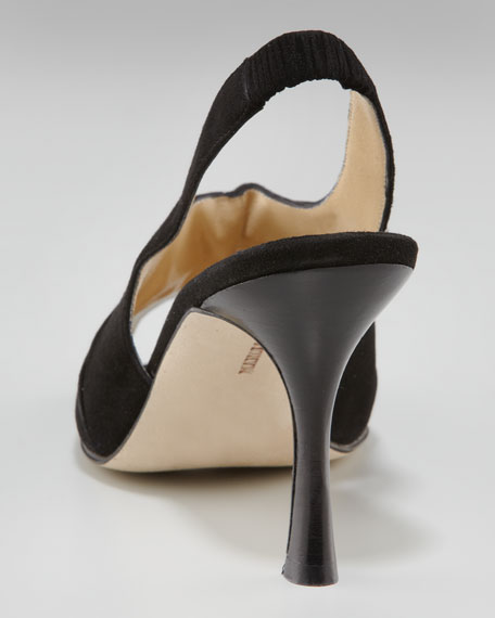 Ruched Suede Slingback