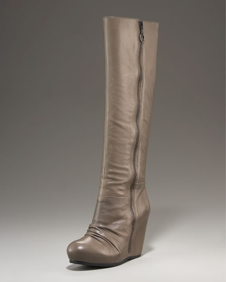 Leather Wedge Knee Boot