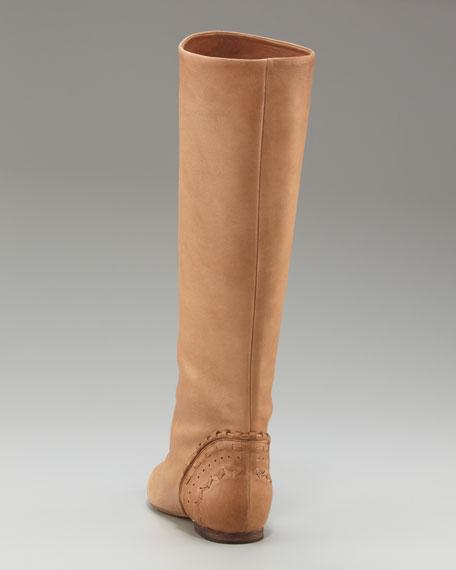 Cog-Heel Flat Knee Boot