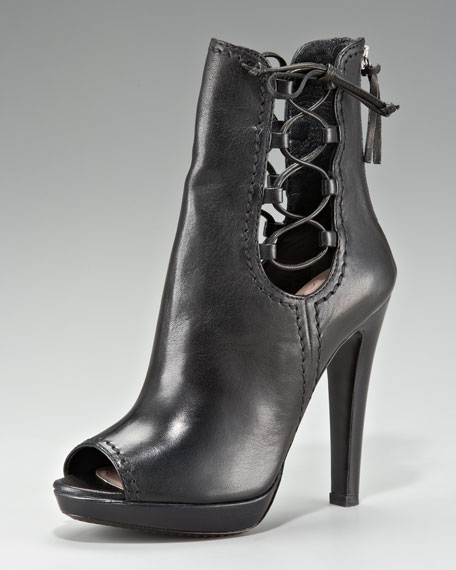 Napa Leather Peep-Toe Zip Back Ankle Boot