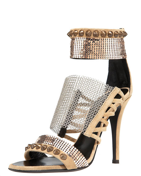 Chain-Mesh Strappy Sandal