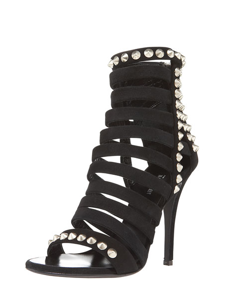 Suede Strappy Stud Bootie