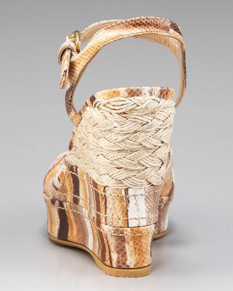 Embossed Wedge Sandal