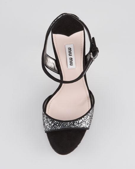 Jewel-Heel Glitter Platform Sandal