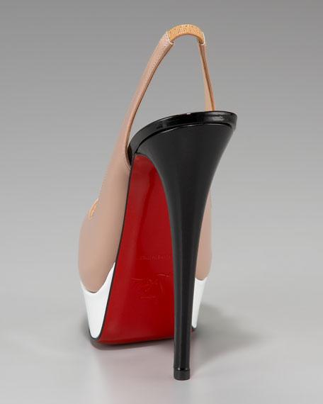 Lady Peep-Toe Colorblock Slingback