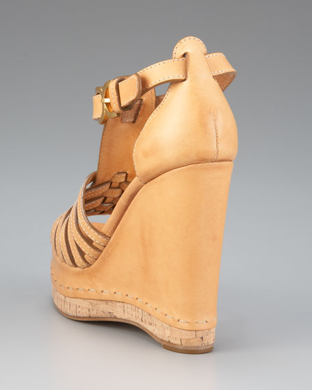 Wrapped-Wedge T-Strap Sandal