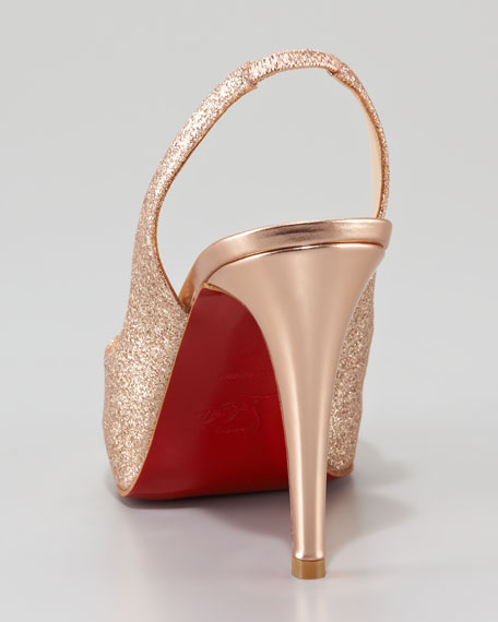 No Prive Glittered Slingback Red Sole Pump