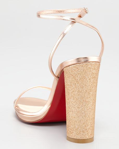 Au Palace Crystal-Heel Metallic Sandal