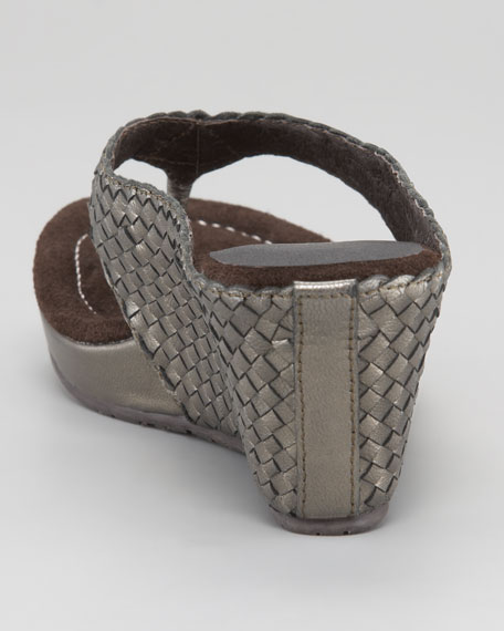 Woven Leather Thong Wedge
