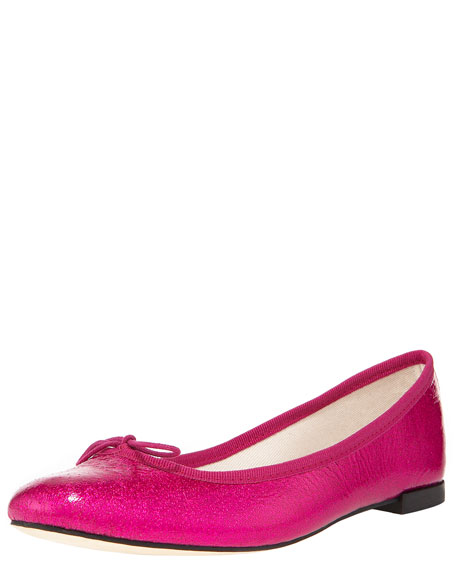Metallic Patent-Leather Ballerina Flat