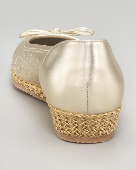 Perforated Low Espadrille Wedge