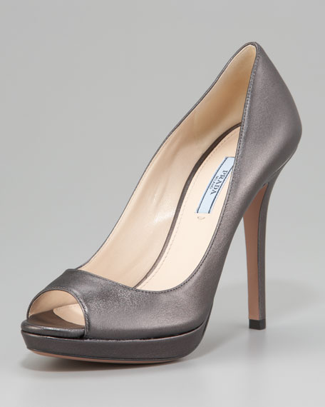 Metallic Peep Toe Platform Pump