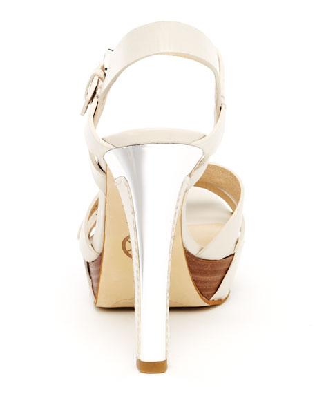 Grace Leather Buckle Platform Sandal, Black or Vanilla