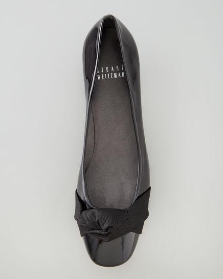 Puffystu Knotted Kitten-Heel Pump, Black