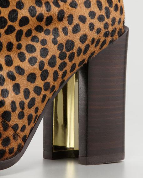 Yvonne Leopard-Print Calf Hair Knee Boot