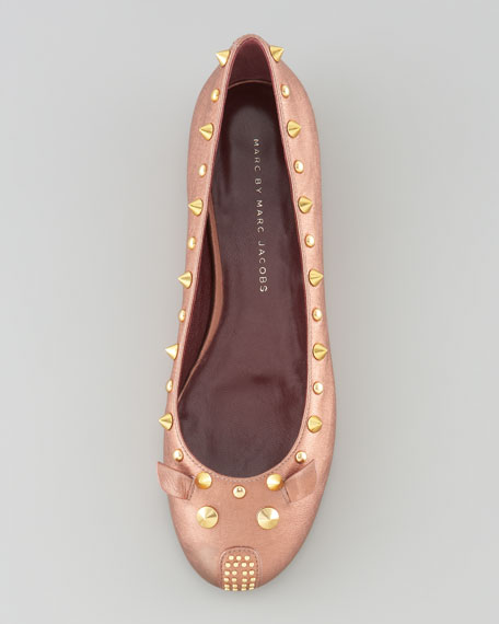 Studded Leather Mouse Ballerina Flat