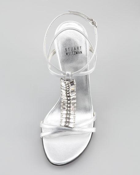 Keyboard Jeweled Metallic Strappy Sandal