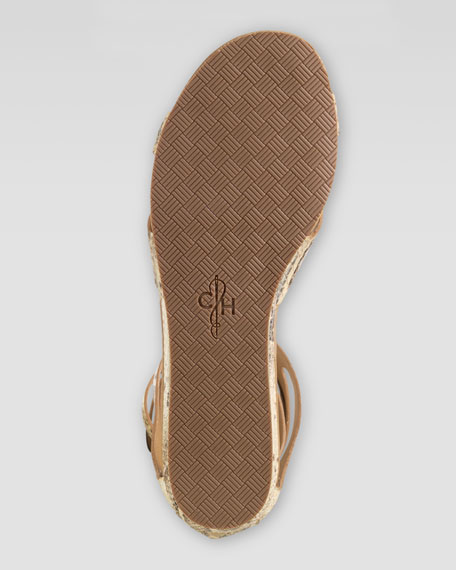 Kimry Snake-Print Flat Sandal