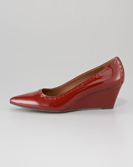 Eddi Pointed-Toe Patent Leather Wedge