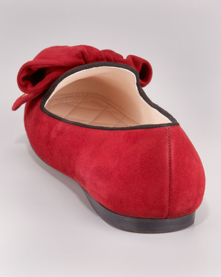 Suede Bi-Color Bow Slipper