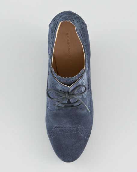 Suede Derby Lace-Up Wedge