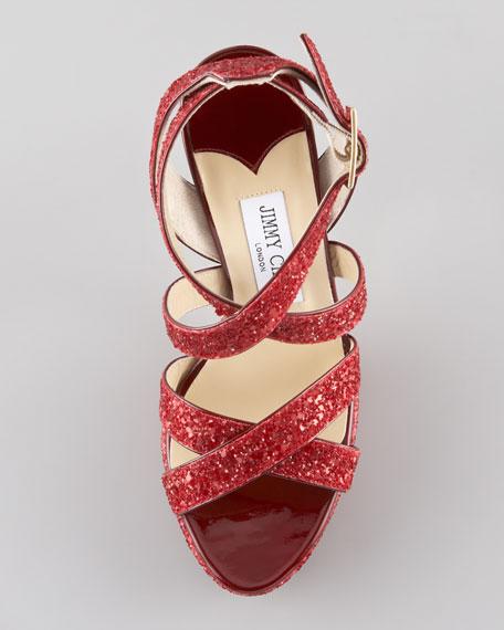 Vamp Glitter Crisscross Sandal, Red