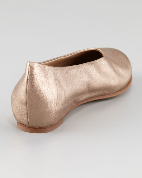 Patch I Metallic Leather Envelope Wedge Flat