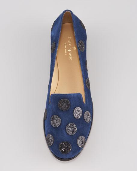 carissa glitter-dot smoking slipper, navy