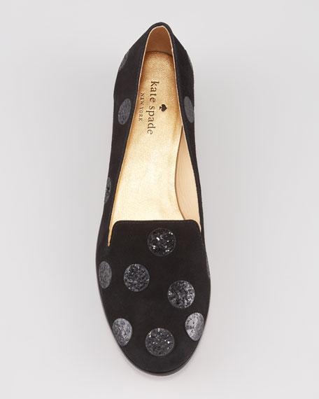 carissa glitter-dot smoking slipper, black