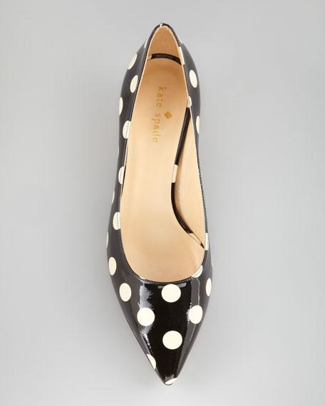 scene polka-dot low-heel pump
