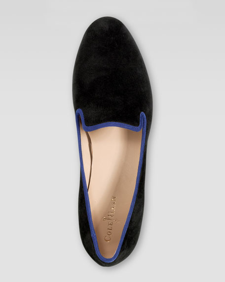 Sabrina Suede Smoking Slipper, Black