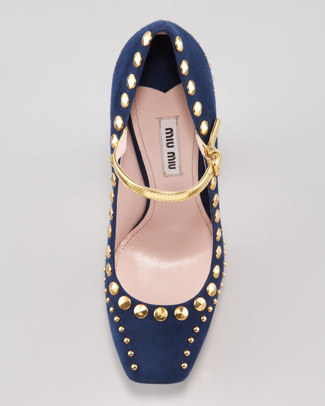 Studded Suede Mary Jane Pump