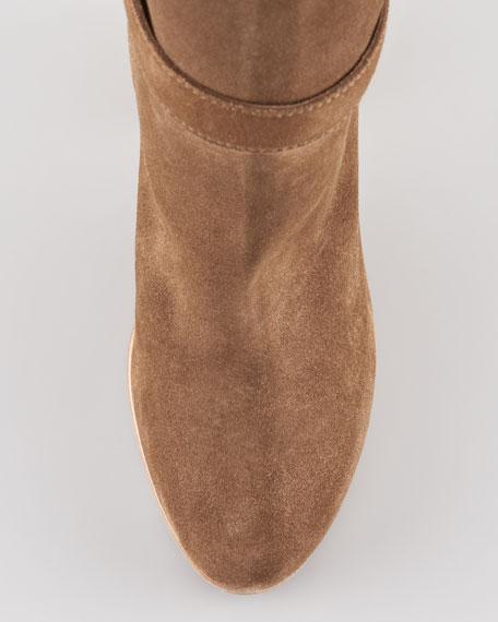 Suede-Buckle Crepe-Heel Boot