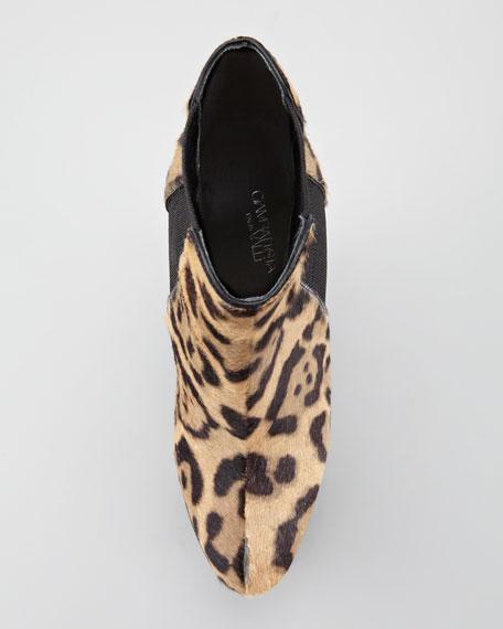 Leopard-Print Platform Wedge Bootie