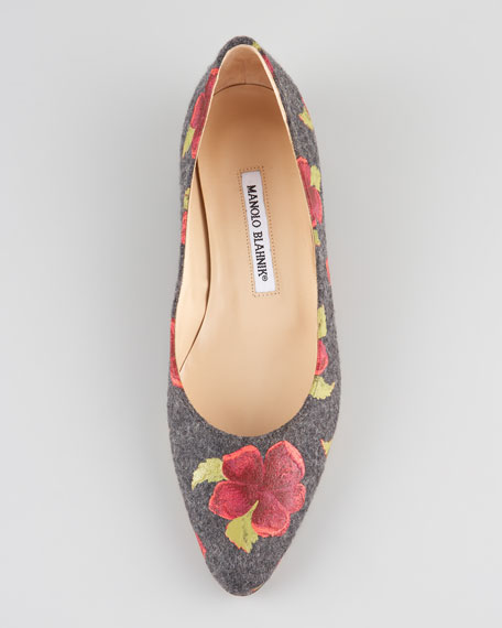 Gisellano Rose Flannel Ballet Flat