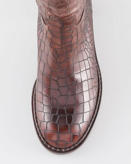 Over-the-Knee Crocodile-Embossed Boot