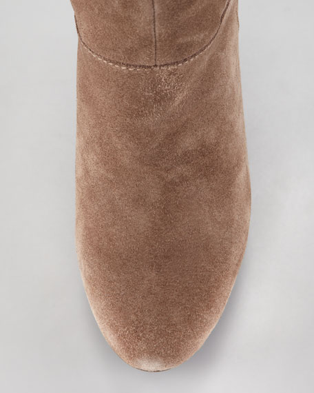 Suede Stretch-Panel Tall Boot