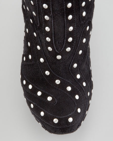 Studded Suede Saw-Sole Wedge Bootie