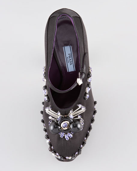 Jeweled Satin Mary Jane Pump