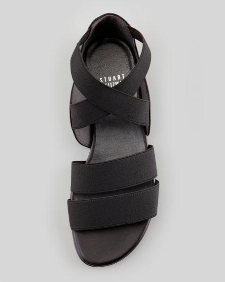 Stretch Strappy Flat Sandal, Black