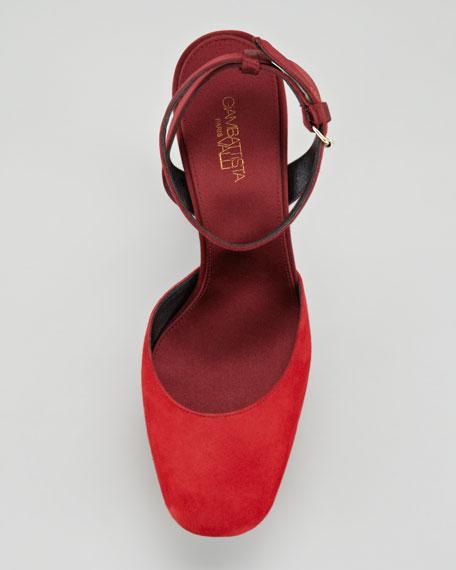Suede & Satin Platform Sandal