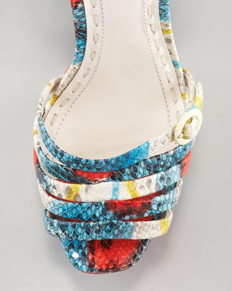 Una Snake-Print Wedge Sandal