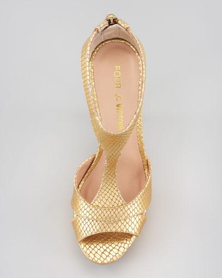 Ilena Snake-Embossed Platform Sandal