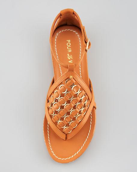 Kara Flat Leather Espadrille Sandal