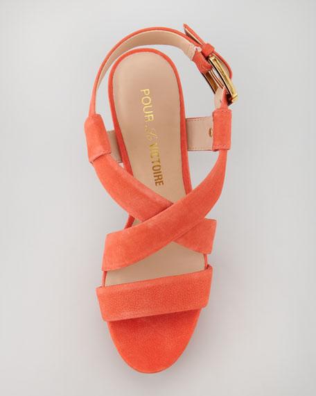 Nubuck Crisscross Sandal, Coral Red