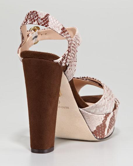 Snake-Print Platform Sandal