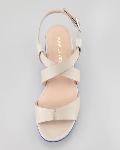 Noele Colorblock Platform Sandal, Taupe