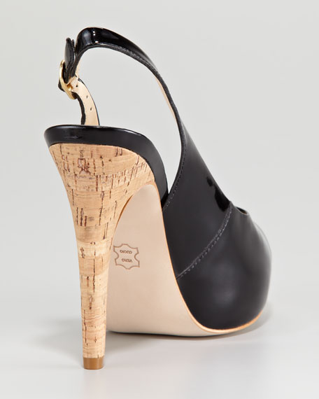 Patent Peep-Toe Slingback